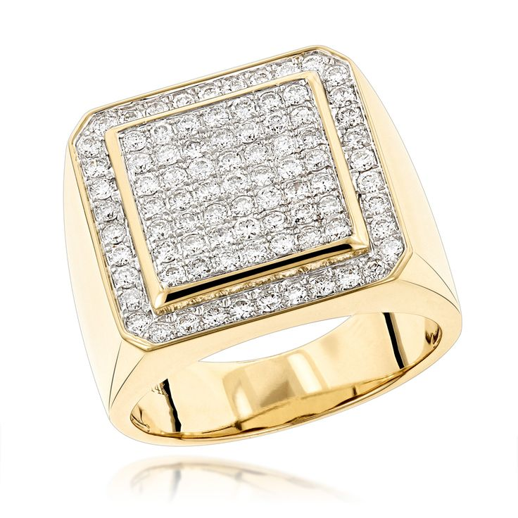 Designer Pinky Rings Mens Diamond Gold Ring by Luxurman 1.63ct 14K Gold