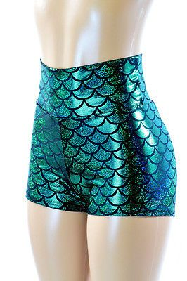 Green Holographic Mermaid Scale High Waist Spandex Booty Shorts Rave Festival in Clothing, Shoes & Accessories, Women's Clothing, Shorts | eBay