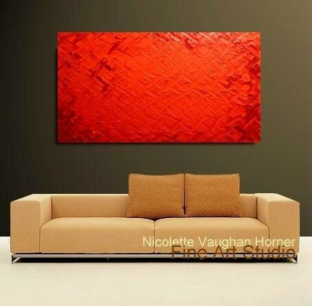 Original X Large Abstract Painting Red Shades Ready to por artmod
