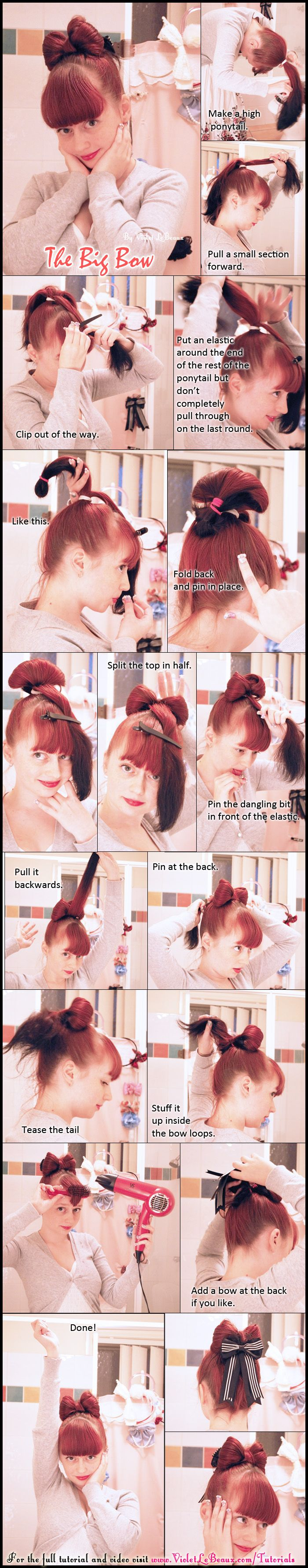 A veeeeeery old tutorial of mine ;)    This one is on how to make the ever popular bow hair style.    Original tutorial here: http://www.violetlebeaux.com/2009/07/tutorial-bow-hair-style-for-medium-length-hair/  Video version here: http://www.youtube.com/watch?v=klHXSvfr-fk