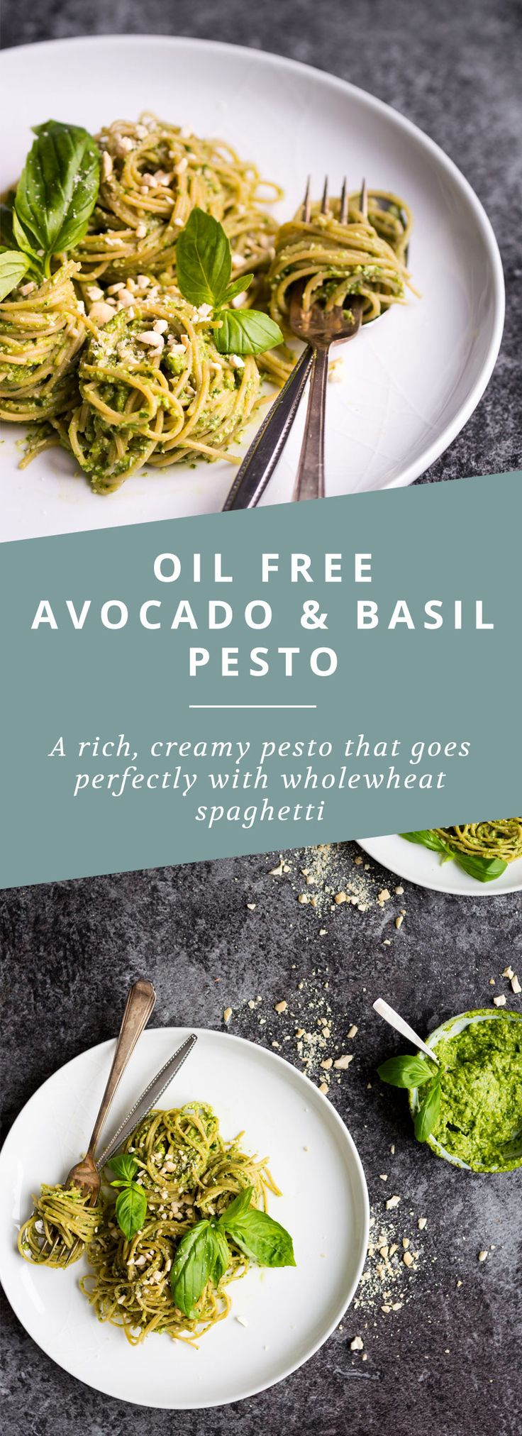 A creamy, oil free basil and avocado pesto that's full of healthy fats