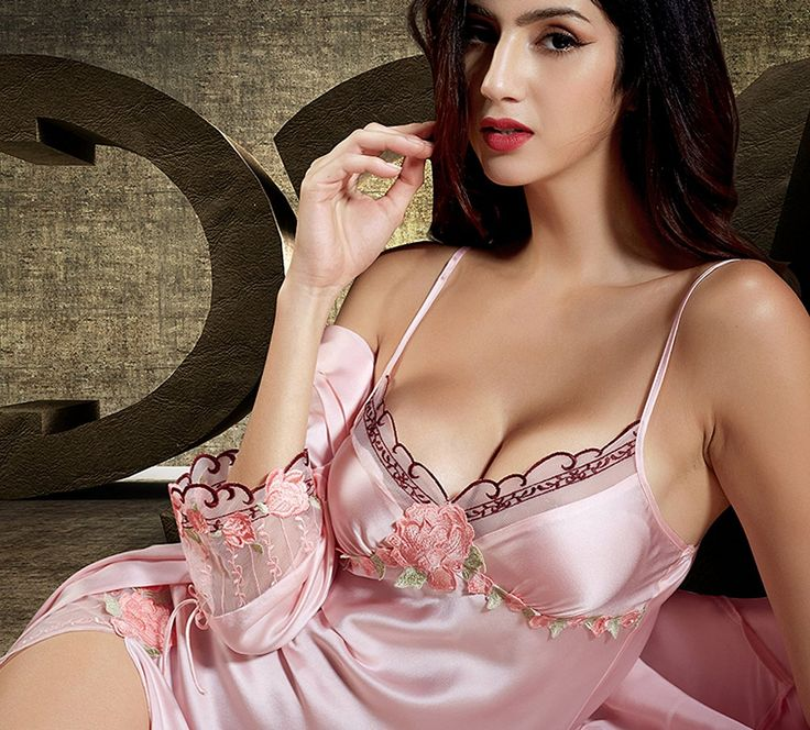 Women's Sexy 100% Silk Nightgown Set