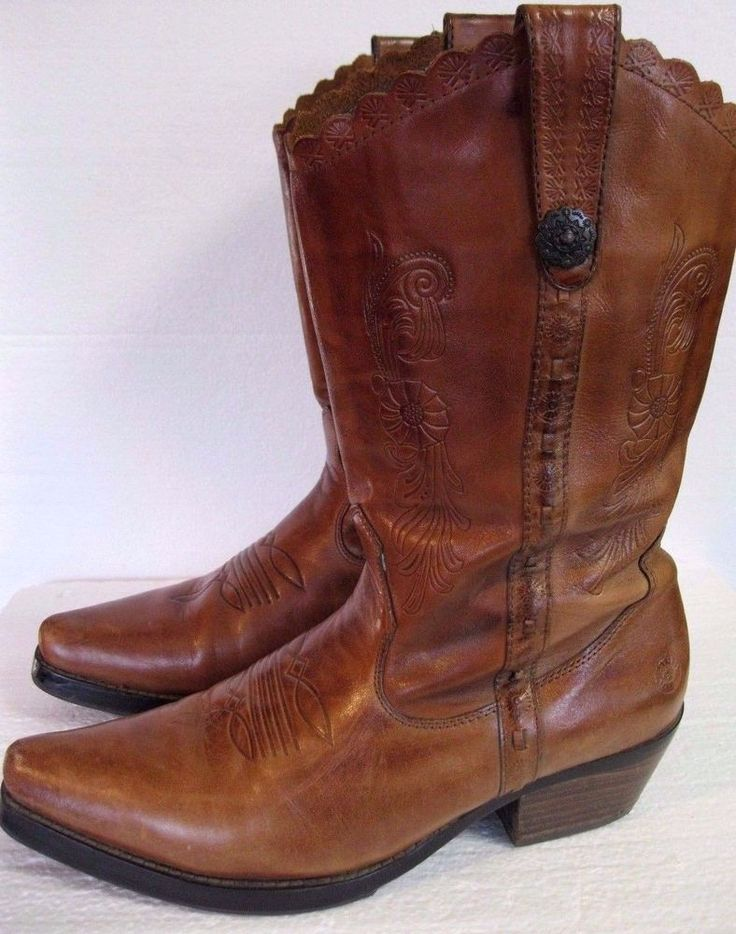 Women's Western Boots Light Brown Leather Earth Spirit Pre Owned Size 9 #Earth #Western #casualpartydance
