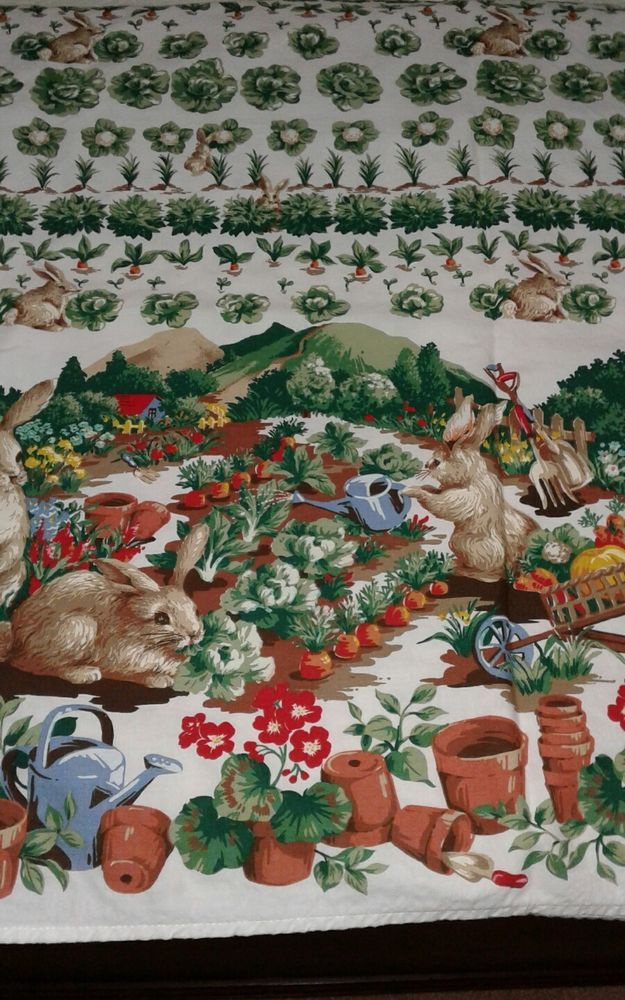 Lovely Vtg EASTER Tablecloth 57 X 98 Bunnies Rabbits In The Garden EC