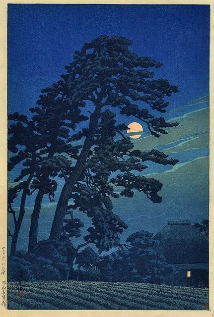 Moon at Magome print--The dark tree in relief against the lighter sky looks like driving home through the Sacramento delta towns on a hot summer night.