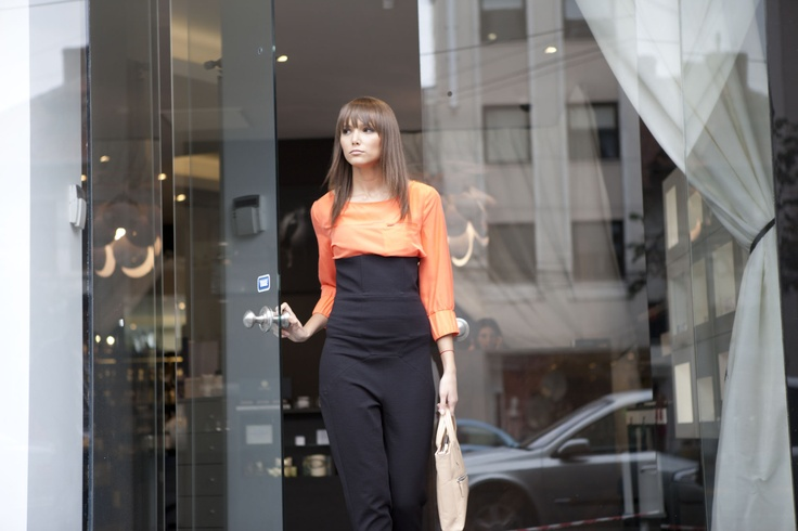 Bruuna Bazaar silk blouse & Bruno Pieters High Waisted Skynny Trousers   http://www.lavenue.com/bruuns-bazaar/silk-cuff-sleeve-blouse/1238/5427