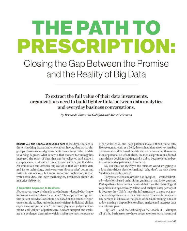 The Path to Prescription: Closing the Gap Between the Promise and the Reality of Big Data, Rotman Management, Fall 2015