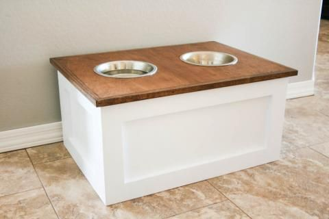 DIY Dog Food Station with Storage Featuring Addicted 2 DIY