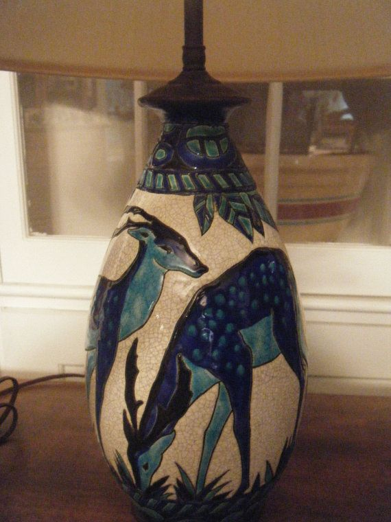 Boch Freres Catteau Lamp by Skyporcelainantiques on EtsyLights, Catteau Lamps, Lighting, Etsy, Gardens