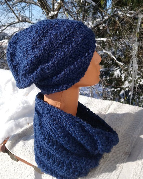 ac0389172d5 Hand knitted hat and cowl set - Chunky knit beanie and neck warmer - Spiral  pattern beanie hat and cowl in wool alpaca mix in royal blue