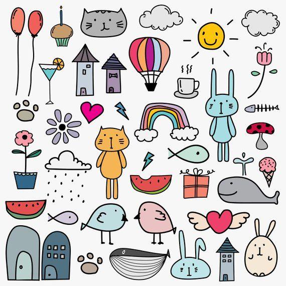 Dibujado a mano Doodle Kids Clipart, Doodle Clipart para niños, Doodle Art, Cat Clipart, Gift Box Clipart, Vector Files, Digital Download Clipart