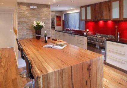 Timber flooring and timber benchtop