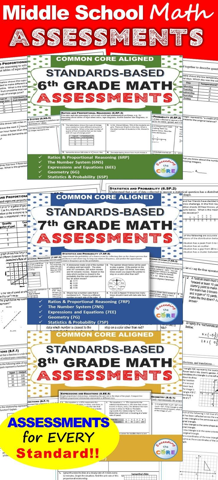 6th, 7th, 8th Grade Math Standards Based Assessments * All Standards * {Common Core} This BUNDLE resource contains a 1 page quick assessment for every common core math standard for 6th, 7th and 8th grade, students standards checklist, class tracking sheet.✔️ The Number System (6NS, 7NS, 8NS) ✔️ Expressions and Equations (6EE, 7EE, 8EE) ✔️ Functions (8F) ✔️ Ratios and Proportional Reasoning (6RP, 7RP) ✔️ Geometry (6G,