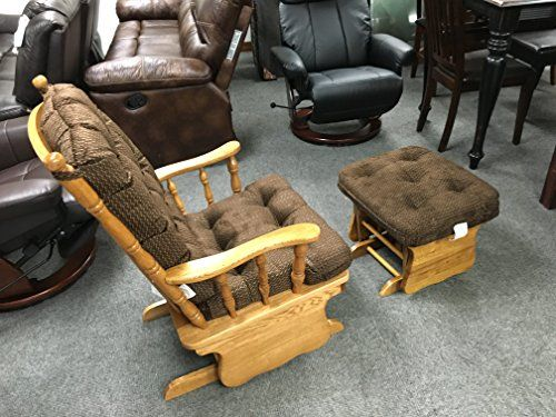 """Solid Oak Glider Rocker Chair w/ Ottoman w/ """"Coffee Brown"""" Fabric Cushions"""