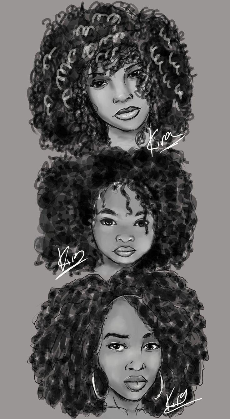 Natural Hair Sketches By Kiratheartist Deviantart Com On Deviantart