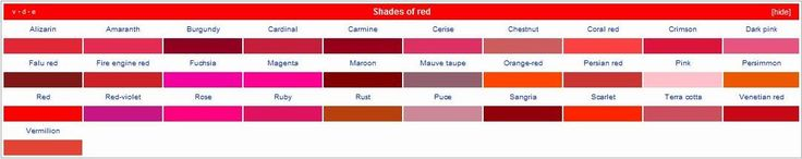 shades of red | list of textile colors, shades of red