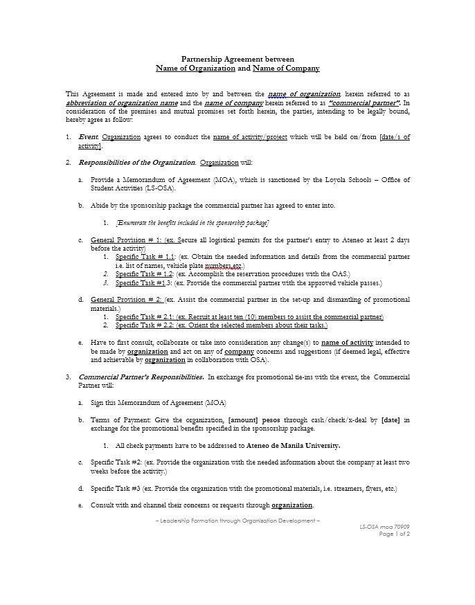 Partnership Agreement Template Partnership Agreement Templates