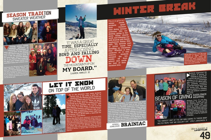 It could be cool to do a story on how students spent Winter Break. Most yearbooks do a spread on summer break and not winter, so it could be unique.