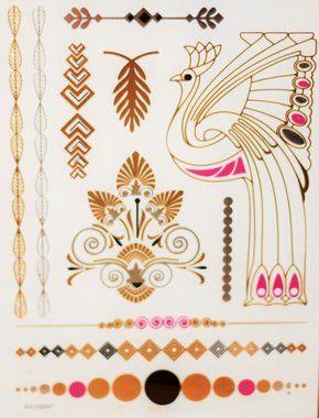 Flash Tattoo - Dourada e Prateada Pavão