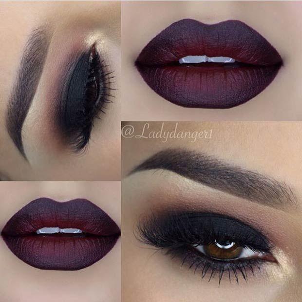 Black Smokey Eye + Dark Lips