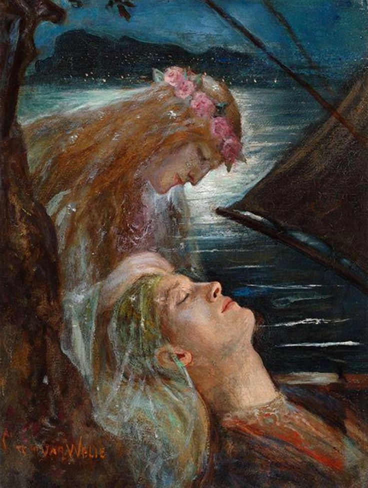Tristan en Isolde / Tristan and Isolde. Oil on Canvas. 32 x 24.5 cm (12.6 x 9.6 in.) Art by Johannes Antonius (Antoon) van Welie.(1866-1956).
