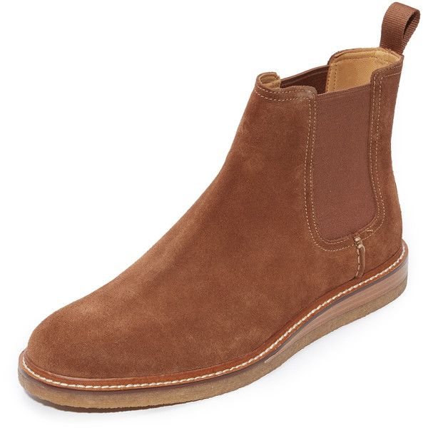 Sperry Gold Cup Suede Chelsea Boots (715 BRL) ❤ liked on Polyvore featuring men's fashion, men's shoes, men's boots, dark snuff, mens dark brown shoes, mens dark brown chelsea boots, sperry mens shoes, mens suede chelsea boots and mens dark brown suede shoes