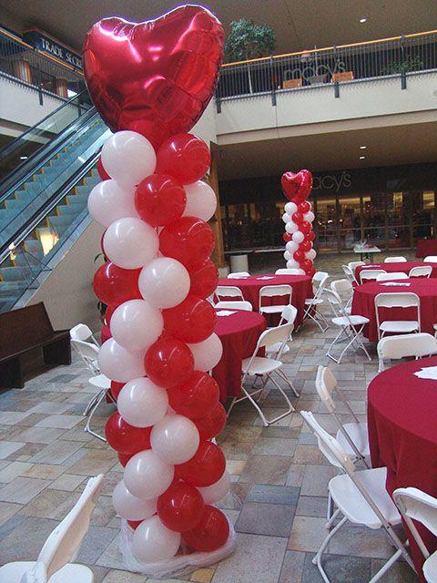 Valentine Balloon arrangement. Thinking make minis for centerpieces.