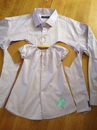 Haz un vestido con una camisa Antes de tirar una camisa con los cuellos desgastados, recíclala creando, por ejemplo, un bonito vestido para tu hija.