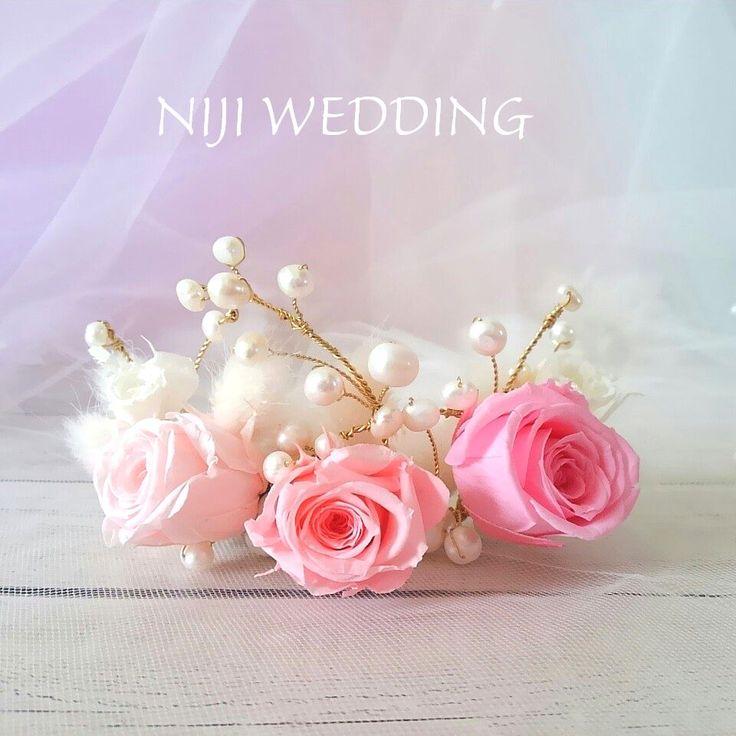 ミニローズのロマンティック♡ティアラ お花のお色はお選び頂けます♪  #プリザーブドフラワー #ティアラ #パール #ヘッドドレス #ウェディング #ピンク #グラデーション #髪飾り #ウェディングアイテム