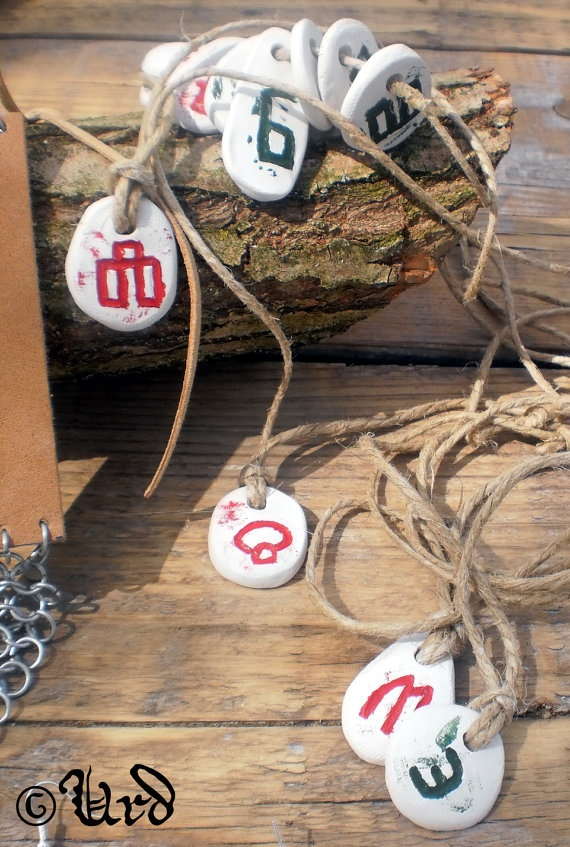 Clay Slavic Glagolitic pendant on a string by UrdHandicrafts, $3.00
