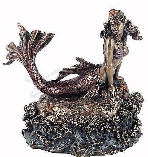 """Mermaid Posing On Rock Trinket Box 6.25"""" NIB Veronese Design WU76130A4"""