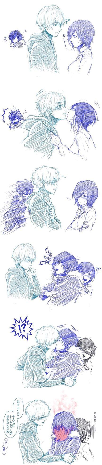 Tokyo Ghoul | Kaneki x Ayato (and Touka) | yaoi | kiss | cute *----* | Should I ship Kaneki with Ayato? xdd :3 AWE!!!// pins for 8 years