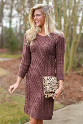 Seize The Day Brown Sweater Dress-LARGE