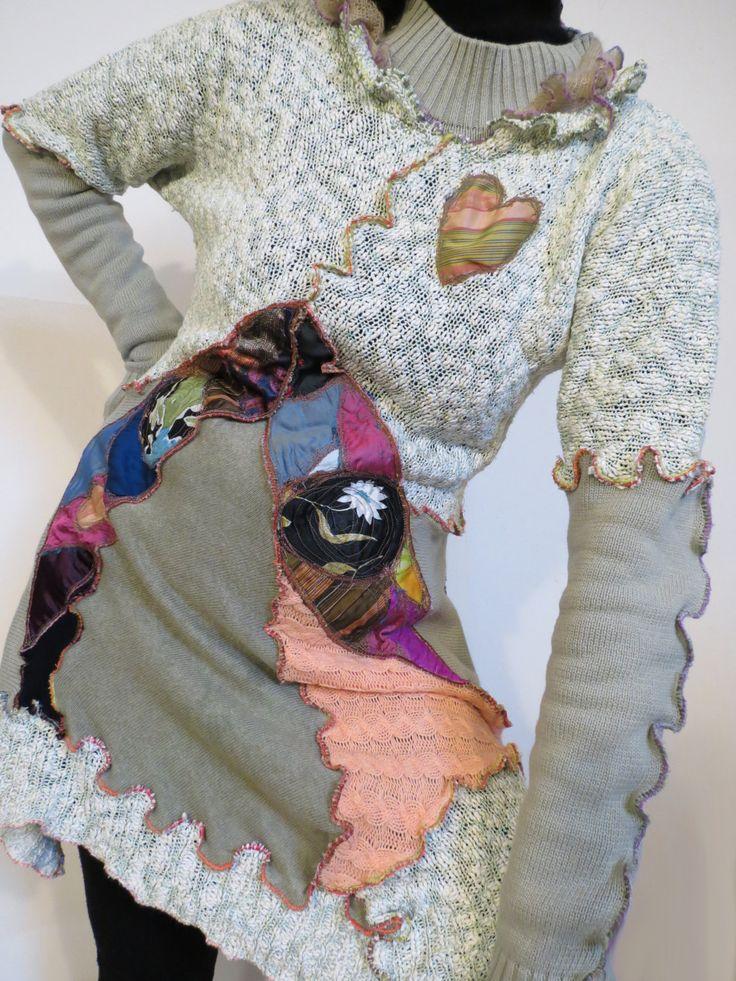 abito boho,vestito bohemien,abito donna,maglia di cotone,upcycled clothes,vestito primavera,mini abito funky,vestito manica lunga,verde rosa di decorandom su Etsy
