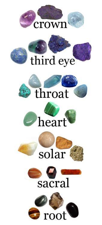 CROWN: Quartz, Amethyst, Celestite, Jade, Diamond, Gold Calcite,    THIRD EYE: Amethyst, Fluorite, Lapis Lazuli, Sodalite, Azurite    THROAT: Aquamarine, Lapis Lazuli, Turquoise, Celestite, Blue-Laced Agate    HEART: Emerald, Jade, Aventurine Quartz, Rose Quartz, Sugilte    SOLAR: Citrine, Rose Quartz, Aventurine Quartz, Malachite, Iron Pyrite (fools gold)    SACRAL: Citrine, Carnelian, Rutilated Quartz, Golden topaz    ROOT: Agate, Bloodstone, Tiger's Eye, Hematite, Carnelian, Rhodochrosite