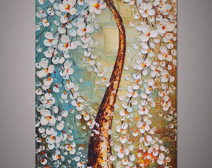 Árbol de la flor del cerezo blanco pintado a mano pintura decoración casera moderna pared arte cuadro grueso espátula óleo lienzo por Lisa