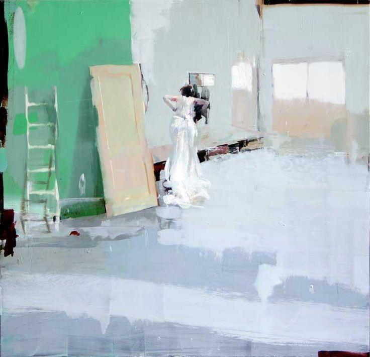 "Alex Kanevsky ""Bride with Renovations"" 22 x 22, oil on mylar mounted on wood"