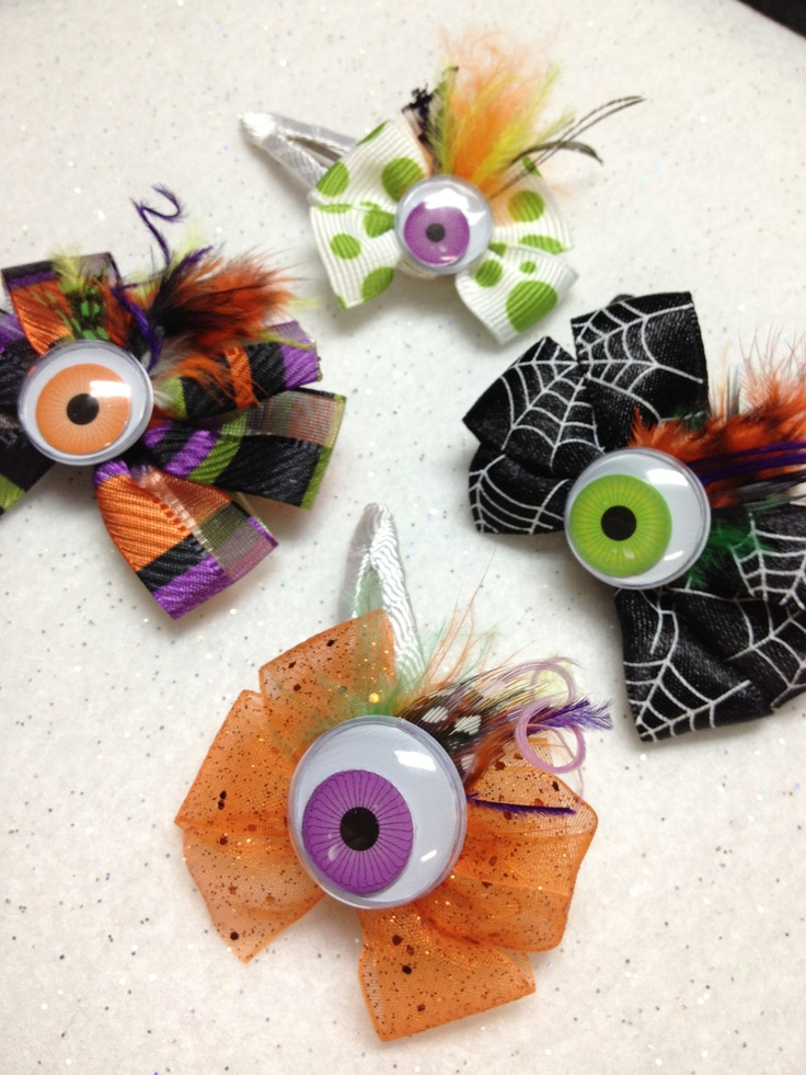 Halloween Bow Monster Clips -  MONSTER 1 STILL AVAILABLE. $4.75, via Etsy.