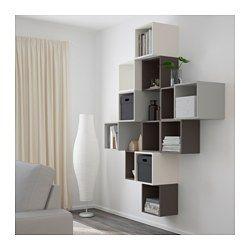 IKEA - EKET, Kastencombinatie voor wandmontage, wit/donkergrijs/lichtgrijs, , Een asymmetrische opbergoplossing die je eenvoudig persoonlijk maakt door hem te vullen met je eigen spulletjes.