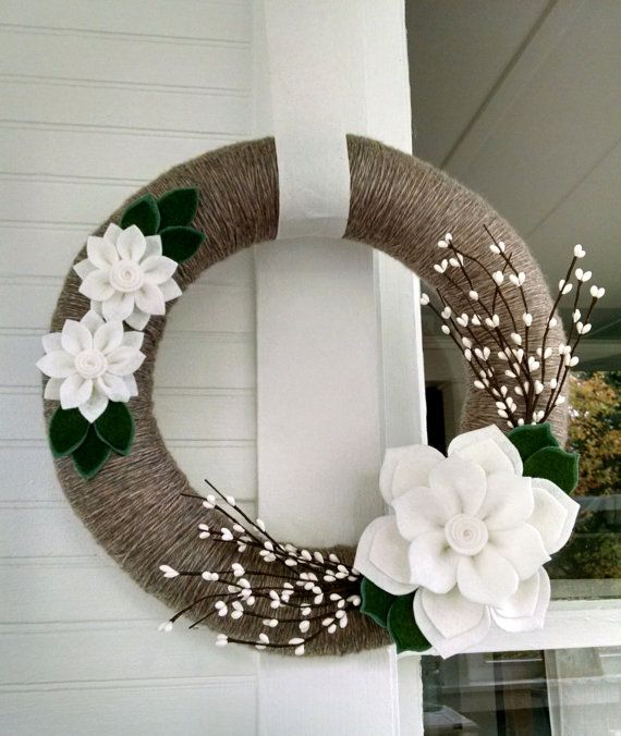 Winter wreath felt flower wreath yarn wrapped wreath by madymae