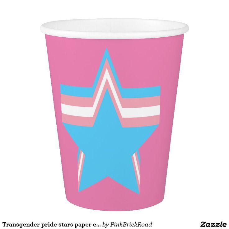 Transgender pride stars paper cup