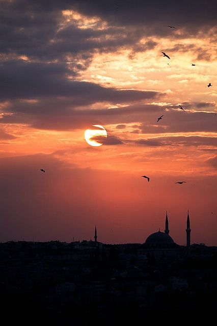 Splendid sunset in Istanbul, Turkey