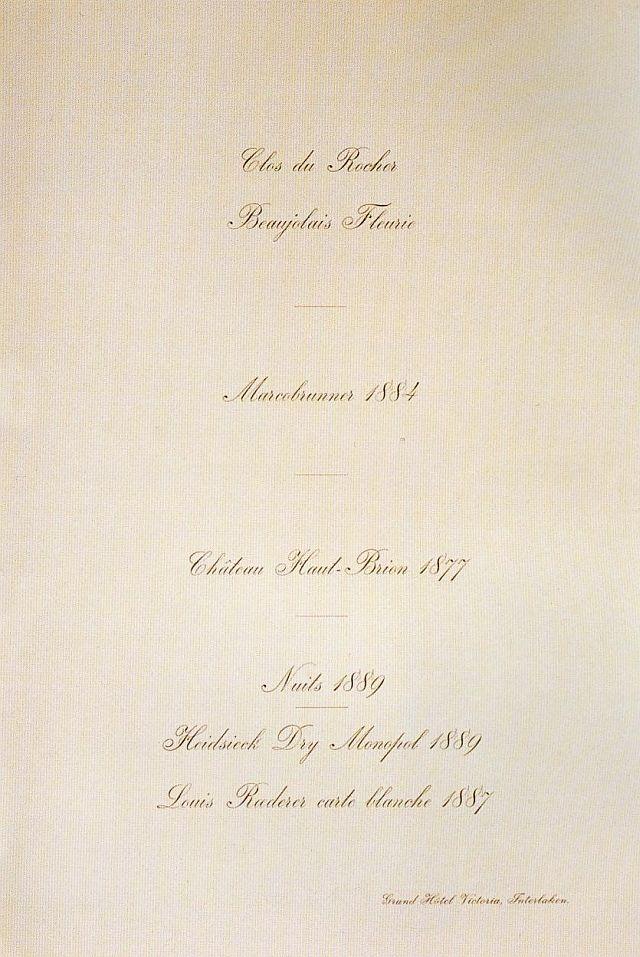 "King of Thailand : His Majesty King Chulalongkorn (RAMA V) พระบาทสมเด็จพระปรมินทรมหาจุฬาลงกรณ์ พระจุลจอมเกล้าเจ้าอยู่หัว On 17 - 31 May 1897 ; ๑๗ - ๓๑ พฤษภาคม ๒๔๔๐ H.M. King Chulalongkorn visited Switzerland ""Wine card for the dinner at the Grand Hotel Victoria , Interlaken on May 28 th, 1897"""