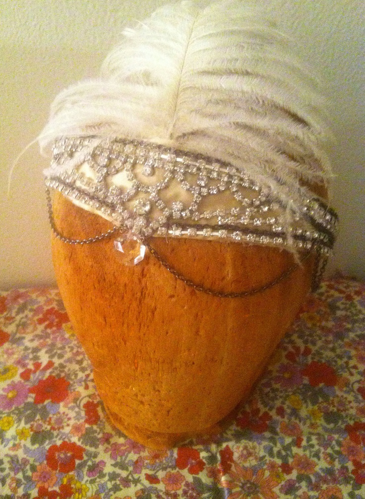 The 1920's Flapper Burlesque Performer Headpiece Antique Bridal The Great Gatsby.