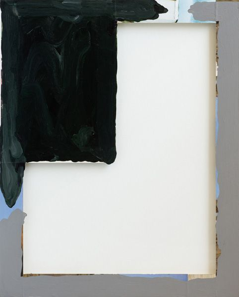 Sean Bailey, Corner Painting, 2012, synthetic polymer paint and collage on glass, 51 x 41 cm