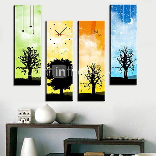 """28 """"-35"""" Orologio moderno da parete scenica in tela 4 pezzi K0095"""