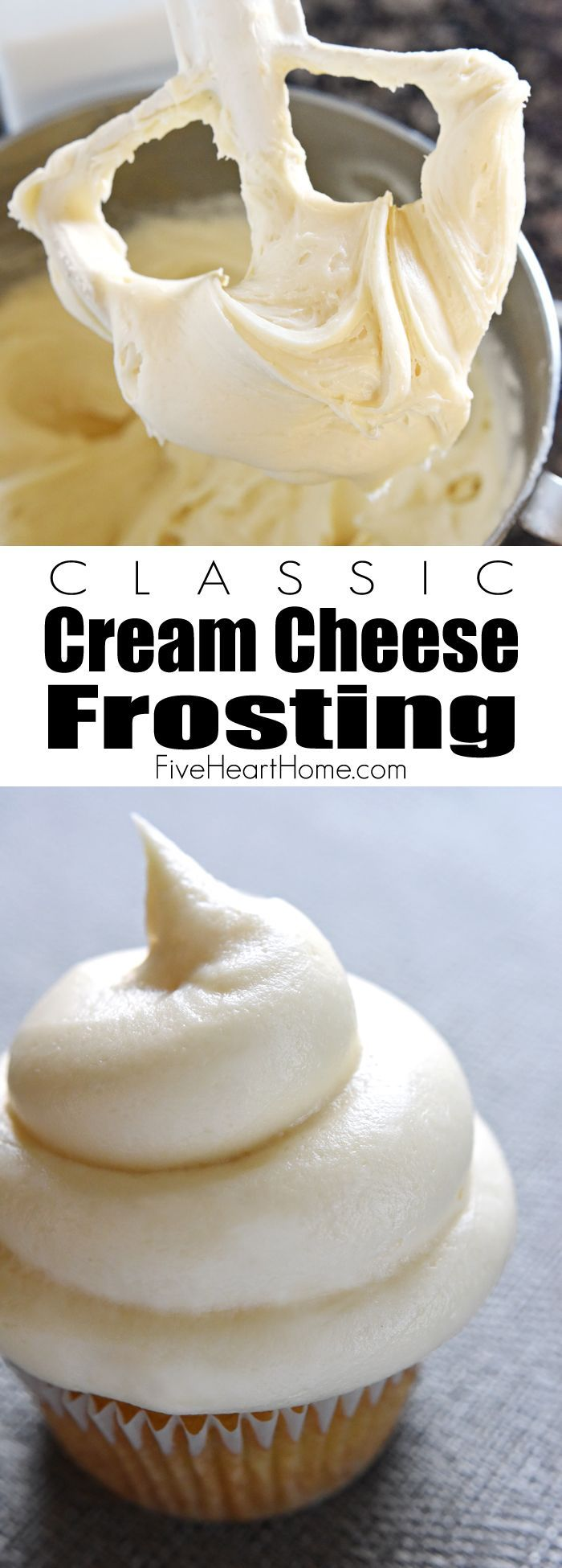 Classic Cream Cheese Frosting ~ silky and sweet with a slight tang from the cream cheese, this effortless frosting comes together with just four ingredients and complements a variety of cakes and cupcakes | FiveHeartHome.com