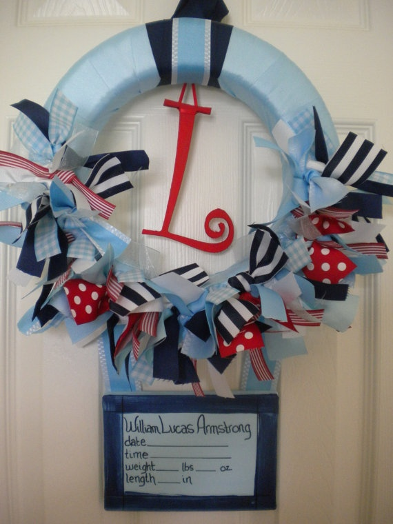 Best 25 new baby wreath ideas on pinterest baby wreaths for Baby boy door decoration