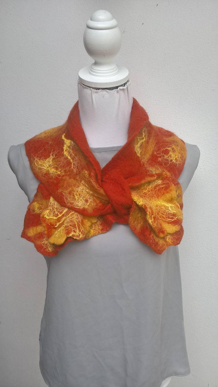 Atlantic Collection : Autumn Gold & Henna DOUBLE RUFFLE Collar by FeltbyJayneGillan on Etsy