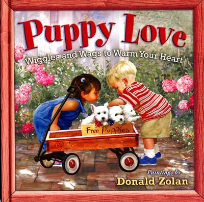 "<p><span style=""color: #ff0000;""><strong>""Puppy Love - Wiggles and Wags to Warm Your Heart""</strong></span> book has 10 illustrations of Westie puppies, plus the cover illustration. The hard cover book is 8"" x 8"".</p>"